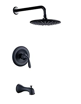 Derengge TS-A2008-MT Single Handle Anti-Scald Tub & Shower Faucet,with 9 Inch Showerhead,14 Inch Shower Arm and Spout,Meets UPC,cUPC,ASSE1016 Standard,Matte Black Finished