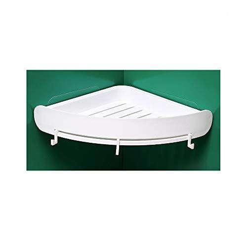 Étagère d'angle blanche pour la cuisine ou la salle de bain - Sans perçage au mur - Avec trois crochets pour boules de bain ou autres - Étagère de douche/étagère murale - Plastique ABS