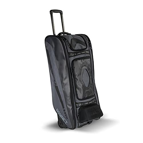 """Bownet Cadet and Catcher Bag With Wheels and 14 Different Pockets- Softball & Baseball Catchers Bag - Youth Players & Coaches Equipment Gear Bag (38""""H x 17""""W x 12""""D, Black)"""