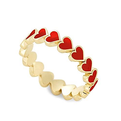 Anillo de aceite de gota de temperamento exquisito para mujer, anillos de amor de corazón de melocotón joyería (7, rojo)
