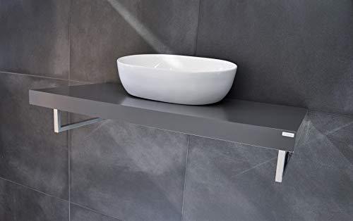 Carl Svensson Edler Waschtisch Waschtischplatte 100 x 50 cm mit Halterung (MN-100H Grau Seidenmatt)