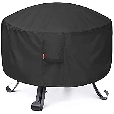 """SheeChung Fire Pit Cover - Waterproof 600D Heavy Duty Round Patio Fire Bowl Cover Black (Round - 30""""D x 12""""H)"""