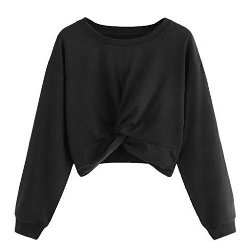 Damen Kurz Crop Top Pullover Crewneck Pulli Sweatshirt Einfarbig Teenager Mädchen Bauchfrei Tops Langarm Jumper Oberteile Shirt Langarmshirt T-Shirt(Schwarz,M)