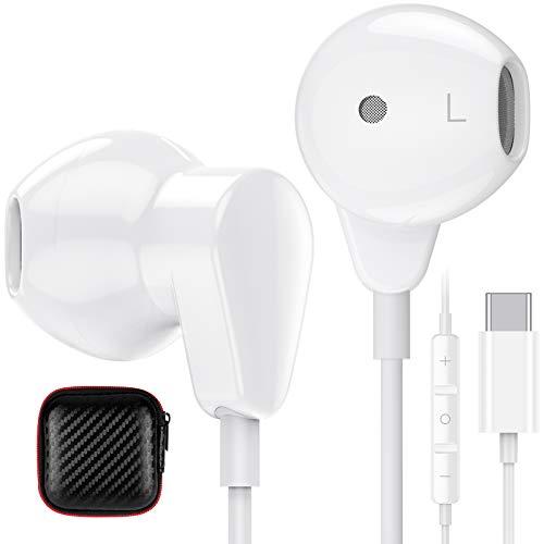 TITACUTE Auriculares USB tipo C con micrófono y control de volumen Hi-Fi, estéreo, para Samsung S21 Ultra S20 FE Huawei P40 P30 Pro Google Pixel 5 4 XL OnePlus 9 Pro 8T Nord