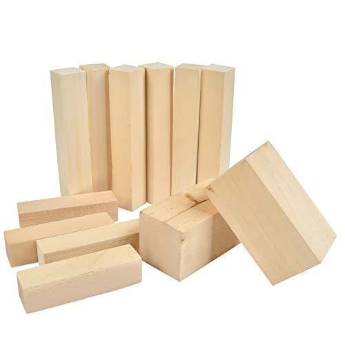 BUYGOO 12Pcs Schnitzblöcke aus Lindenholz, 3 Größen Unlackierte Natur Holzblöcke für Holzschnitzerei Heimwerken Holzkreationen für Erwachsene und Kinder