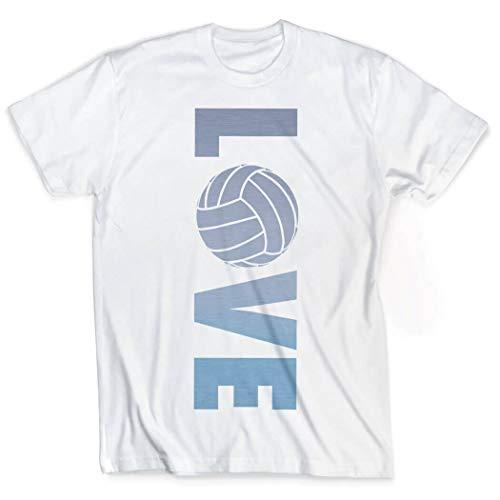 ChalkTalkSPORTS Love T-Shirt   Vintage Faded Volleyball T-Shirt   Erwachsenengrößen - Weiß - Mittel
