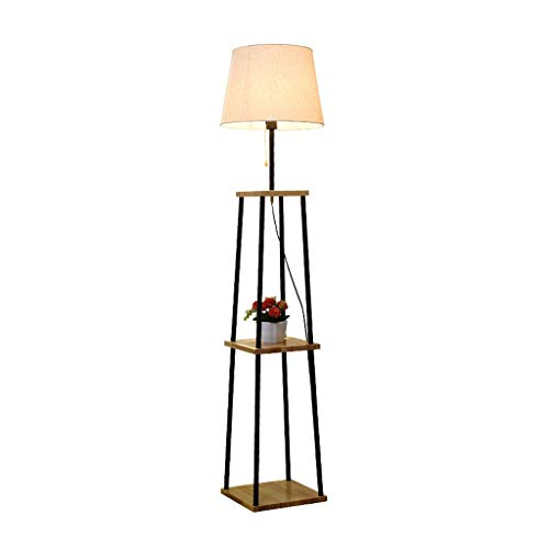 Floor lamp LED Floor Lamp Log Tea Tray Storage Display Shelves Modern With Zipper Switch Vertical Floor Lamp Living Room Bedroom Floor Light (Color : Logs)