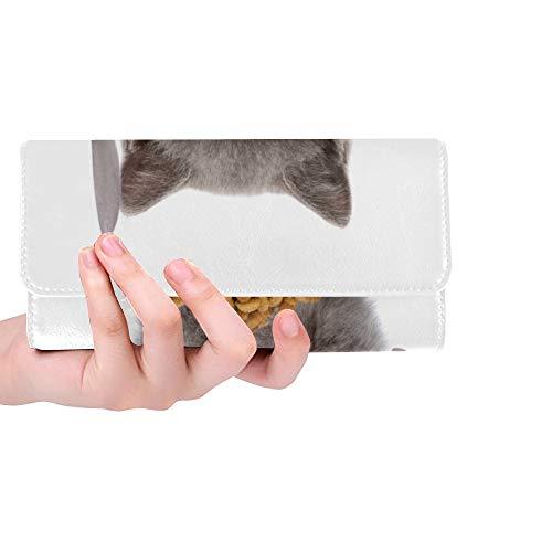 RFID Blocking Geldbörse Lange schlanke Brieftasche für Frauen Hauskatze Essen Futter in der Schüssel Long Snap Wallet Trifold Leder Kartenhalter Fall Brieftasche Kreditkartenhalter Fall Handtasche