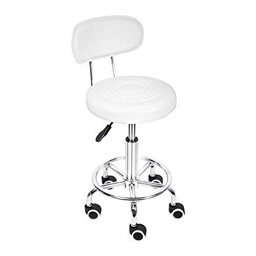 スツール (キャスター付き 丸椅子) 背もたれ 脚の補強 360°回転 オフィス/スパ/キッチンなどに適する(白、高さ調整45-61cm)