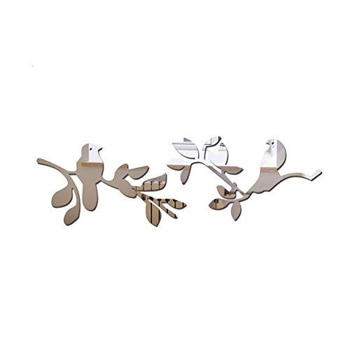 Ruiting 3D Acryl Spiegel Aufkleber Vogel Niederlassung Wandtattoo Wandsticker Wandaufkleber Wanddeko für Home Badezimmer Arbeitszimmer Wohnzimmer Aufkleber Selbstklebend Silber Spiegel Vogel 1 Set.