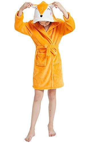 YAOMEI Kinder Morgenmantel Bademäntel Einhorn Kapuzenpullover Jungen Mädchen Kigurumi Karikatur Nachtwäsche Nachthemd Schlafanzug (150, Fuchs)