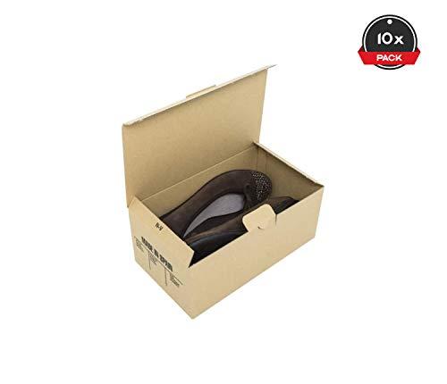 Cajeando | Pack de 10 Cajas de Cartón Automontables para Zapatos | Tamaño 24,5 x 14 x 10 cm | Zapatero Apilable y Ordenación de Sneakers o Zapatillas | Guarda Zapatos | Color Marrón