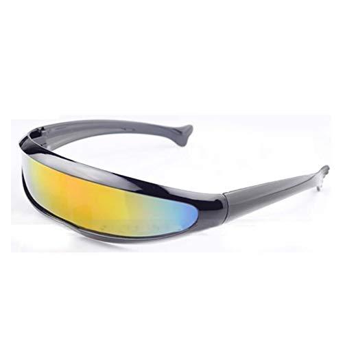 DIOXQEN Diseño clásico Gafas de Sol futuristas Láser Eyeglasses UV400 Personalidad Disfracio de Lentes Gafas de Gafas para Uso en Exteriores (Lenses Color : Black Multicolor)