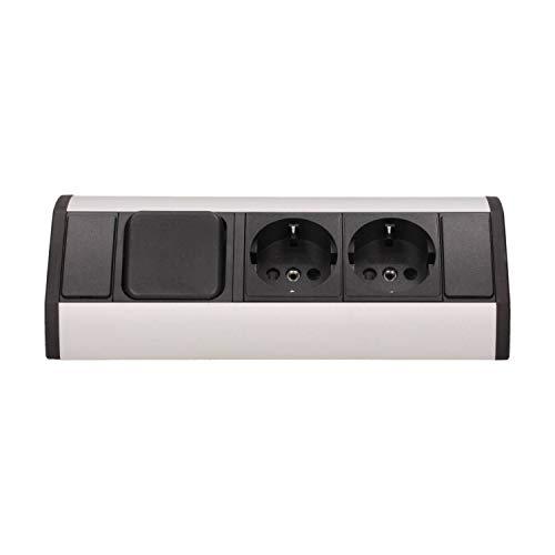 Möbel-Steckdose mit 2x Schuko + Lichtschalter – hochwertige Ecksteckdose aus Aluminium ideal für Arbeitsplatte, Tischsteckdose oder Unterbausteckdose Steckdosenelement