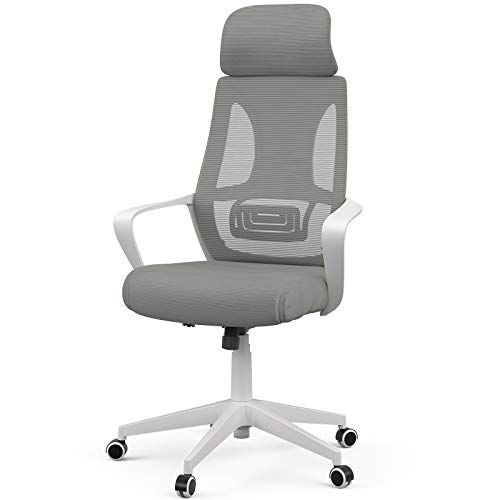 Mecor High-Back Home Office Chair Ergonomic Desk Chair Mesh Computer Chair Modern Design Executive Chair with Lumbar Support Armrest Rolling Swivel Height Adjustable(White/Grey)
