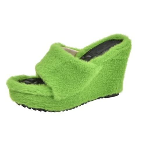 MQQM Espuma De Memoria CáLido Comodidad Pantuflas,Pantuflas Suaves y esponjosas, Chanclas de Fondo Plano con Tacones Gruesos-Verde_38,Memoria Zapatos con Antideslizante