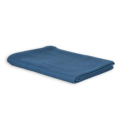 LANGDHUUS Colcha original con diseño de espiga atemporal   150 x 220 cm   Azul lejano   100% algodón orgánico   Manta de verano   Manta de sofá   Manta de algodón   Manta de cama