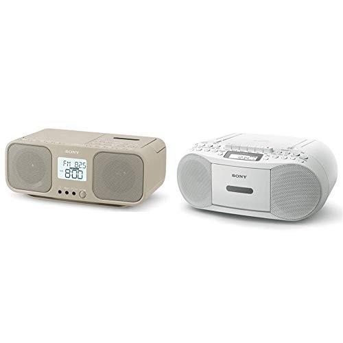 【セット買い】ソニー CDラジオカセットレコーダー CFD-S401 : FM/AM/ワイドFM対応 大型液晶/カラオケ機能搭載 電池駆動可能 ベージュ CFD-S401 TI & CDラジカセ レコーダー CFD-S70 : FM/AM/ワイドFM対応 録音可能 ホワイト CFD-S70 W