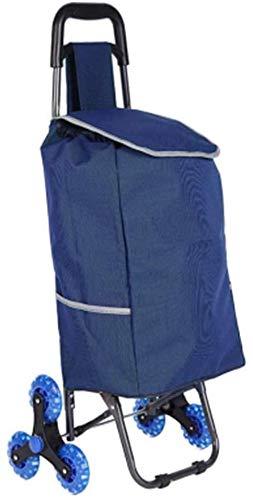 LQBDJPYS Plegable Cesta de la Compra de 3 Ruedas de Escalera de Bicicletas de montaña Impermeable Durable Viejo Rodillo de la Compra Ruedas (Color : Blue)