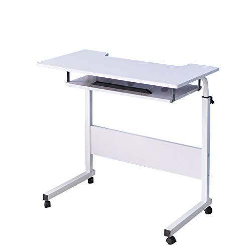 Computertisch für Zuhause,Winkel und Höhe,verstellbarer Rolltisch, mobiler Stehpult,Laptop-/Notebook-Ständer, neigbar, für Sofa/Bett, Beistelltisch,Krankenhaus-Tisch mit abschließbaren Rollen(weiß)