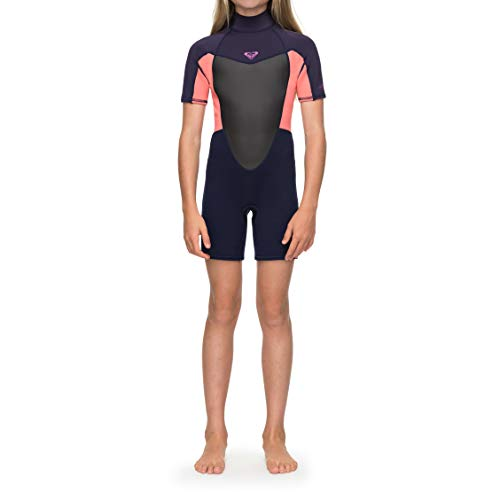Roxy Girls 2mm Prologue Back Zip Shorty Wetsuit Blue Ribbon Coral - Easy Stretch shirt met korte mouwen