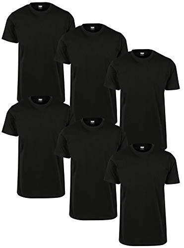 Urban Classics Herren Basic Tee 6-Pack T-Shirt, Schwarz (Blk/Blk/Blk/Blk/Blk/Blk 02256), X-Large (Herstellergröße: XL) (6er Pack)