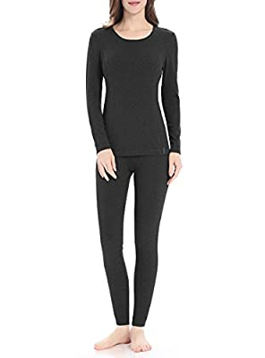 Thermal Underwear for Women, Midweight Cotton Long Underwear Fleece Long John Base Layer Set?Dark Gray, Large