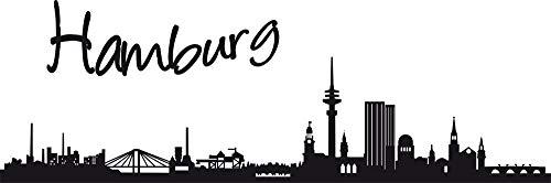 GRAZDesign Wandtatoo Skyline Hamburg - Geschenke für Eltern Stadt im Norden - Wandtattoo Wohnzimmer Unterricht - Wanddeko Büro / 90x30cm / 070 schwarz