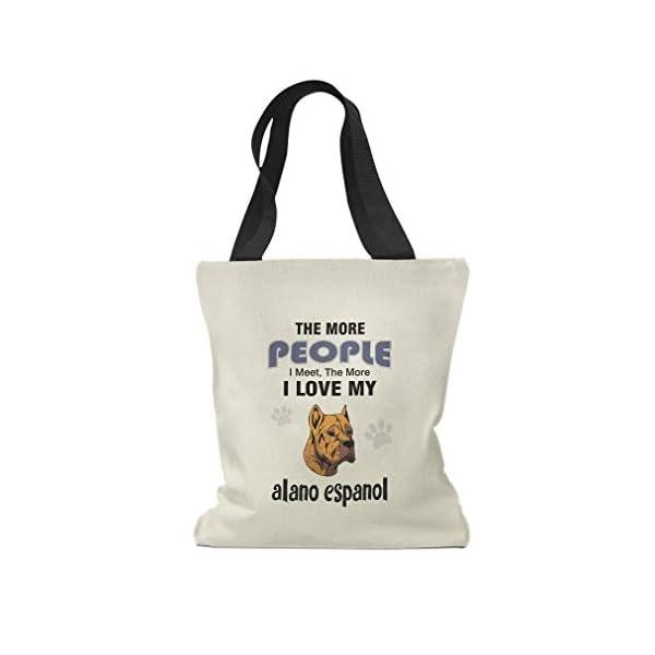 Custom Canvas Tote Shopping Bag More People Meet Love Alano Espanol Dog Reusable Beach for Women 1