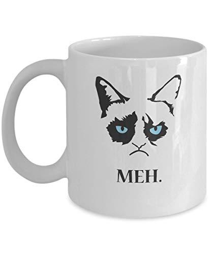 Grumpy Cat Gifts - MEH--Grumpy Cat Mug-Grumpy Cat Coffee Mug-Grumpy Cat Merchandise-Ceramic Coffee White Mug -Personalized Gift For Birthday,Christmas And New Year-Grumpy Cat Art-Grumpy Cat No Mug