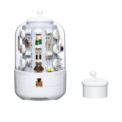 Caja de joyería giratoria de 360degree, caja de almacenamiento de pendiente de pendiente de múltiples capas transparente con tapa, caja de almacenamiento de joyas a prueba de polvo