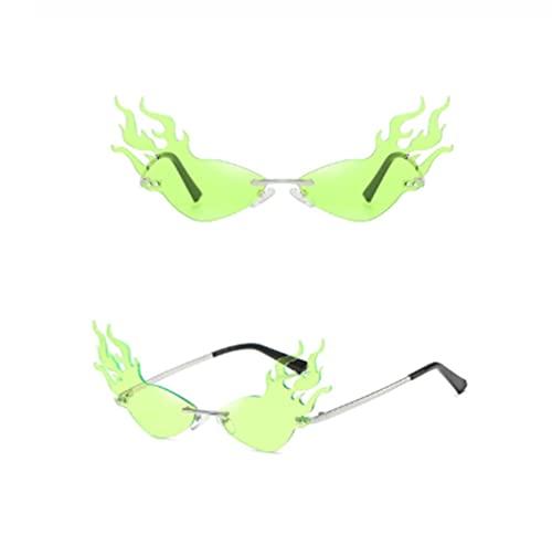 SASCD 2020 Moda Llamas de Fuego Gafas de Sol sin Montura Hombres de Las Mujeres Gafas de Sol de Onda UV 400 Gafas de Sol de Tendencias de Lujo Criterios (Color : C05 Neon Green)