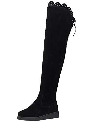AIYOUMEI Damen Flach Overknee Stiefel Platform Langschaftstiefel mit 3cm Absatz und Spitze Bequem...