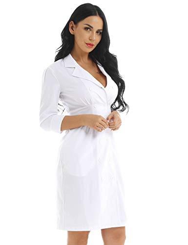 CHICTRY Damen Kittel,Laborkittel, Arztkittel - Weißer Mantel mit V-Schnitt Geeignet für Krankenschwester, Wissenschaftslabor, Studenten Gr. S-XXXL Weiß Small