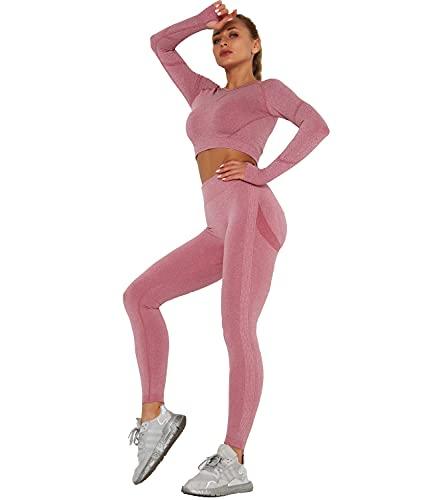 DUROFIT Tuta da Ginnastica Tute Sportive Donna a Due Pezzi Felpa con Legging Push up Vita Alta Yoga Top a Maniche Palestra Completi Sportivi Abbigliamento per Jogging Yoga Fitness Running