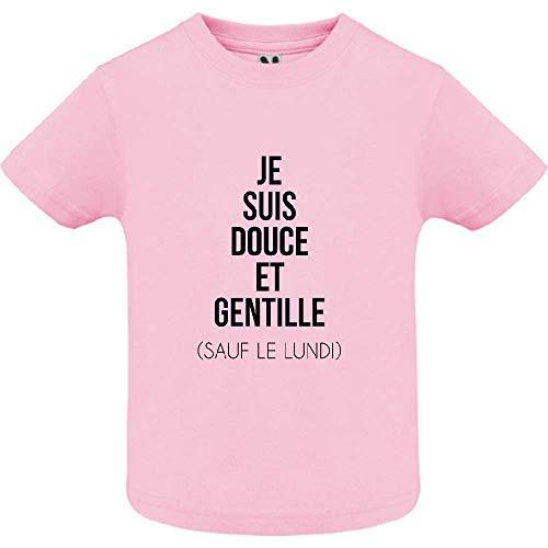 LookMyKase T-Shirt - Manche Courte - Col Rond - Je suis Douce et Rebelle - Bébé Fille - Rose - 18mois