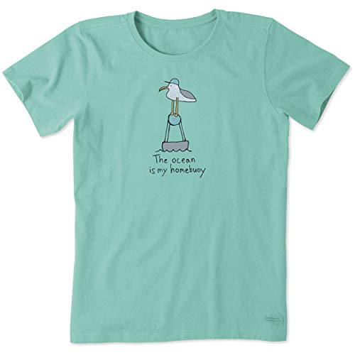 Life is Good Camiseta feminina com estampa de sol de praia oceano Coleção Crusher, Ocean,aqua Blue, Small