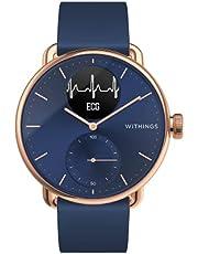 Withings Unisex Adult ScanWatch Hybrid Smartwatch z EKG, czujnikiem tętna i oksymetrem, różowe złoto/niebieski, 38 mm