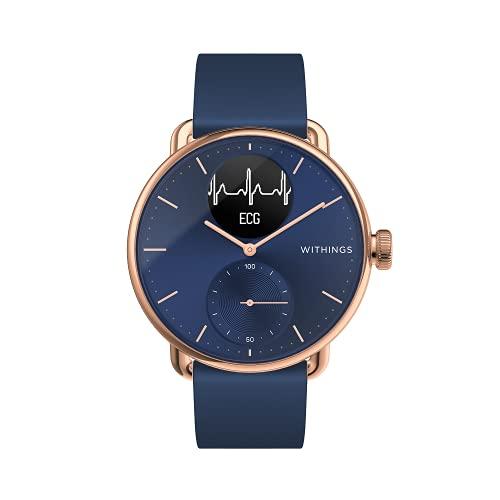 Withings ScanWatch - Reloj inteligente híbrido con ECG, tensiómetro y oxímetro, Oro Rosa/Azul, 38mm
