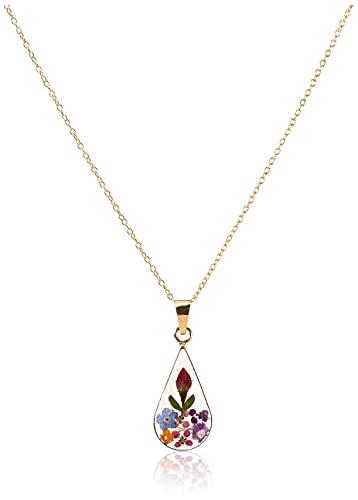 14k Gold Over Sterling Silver Multi Pressed Flower Teardrop Pendant Necklace, 16'