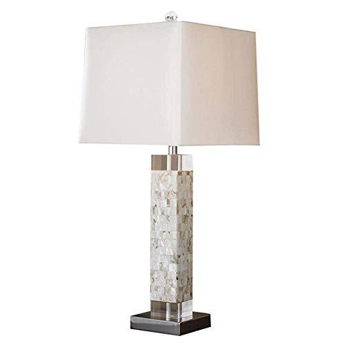 Lámpara de mesa Lámpara de mesa LED de concha de mar elegante minimalista europea moderna, luz de noche LED de concha, cuerpo de lámpara exquisito, hecho de conchas de mar y pantalla de tela, utilizad