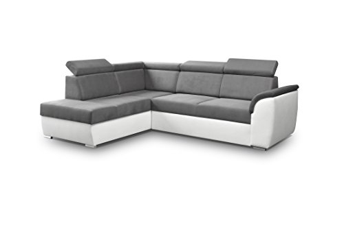 Grand canapé d'angle Convertibles 3/4 Places Tissu + Simili Cuir Modena II (Gris, Canapé d'angle Gauche)