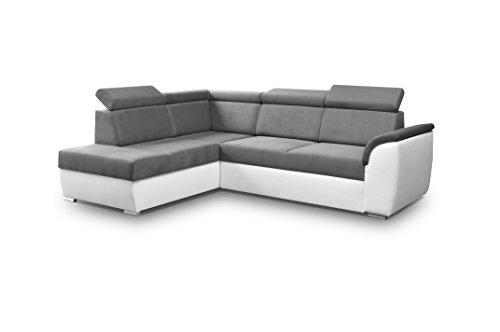 Ecksofa Sofa Eckcouch Couch mit Schlaffunktion und Bettkasten Ottomane L-Form Schlafsofa Bettsofa Polstergarnitur - MODENA II (Ecksofa Links, Grau)