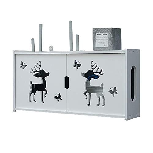 XLBHSH Router WiFi Inalámbrico Caja de Almacenamiento Mueble de TV de Pared con Estante Flotante Estante de para Consola Multimedia Soporte para Caja de Cable del Receptor,Blanco