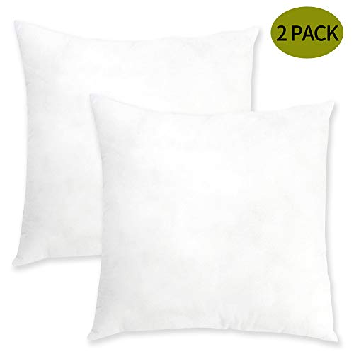 "ORANIFUL 18""x18"" Pillow Inserts Set of 2 Square Throw Pillows Euro Decorative Cushion Inner Nonwovens Cover 3D Cotton Best Filling for Pillow of Couch/Bed/Indoor/Office 45cm x 45cm"