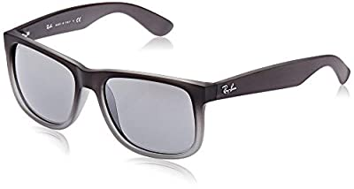 Ray-Ban RB4165 Justin Rectangular Sunglasses, Rubber Grey & Grey Transparent/Silver Gradient Mirror, 54 mm