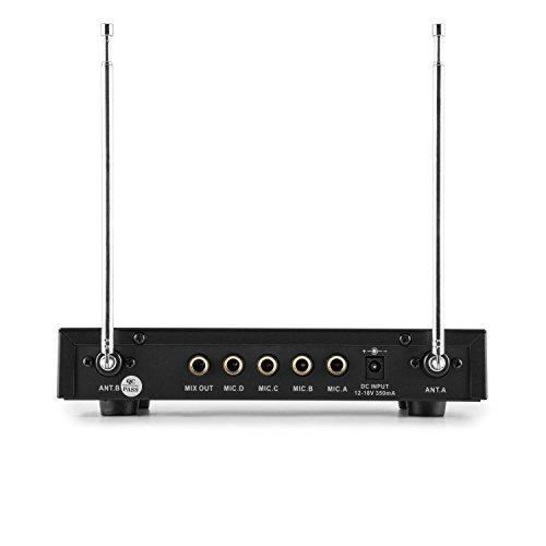 auna VHF-4-H-HS Set micrófonos inalámbricos VHF de 4 canales (alcance hasta 100 metros, incluye receptor, 2 micros con auriculares y 2 micro de mano)