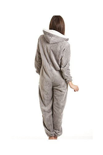 CAMILLE Druck Super Weiches Fleece Alles in Einem 42-44 Grey Nina Onesie - 2