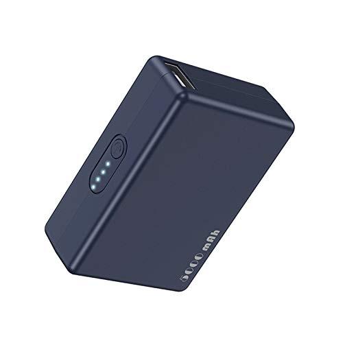 Cargador portátil portátil portátil de 5000 mAh, batería ligera compacta con cordón, compatible con iPhone, Huawei, Samsung y otros dispositivos (color: azul)