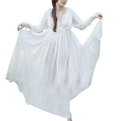 Vestido De Manga Larga Largo Princesa Cortesana De Renacimiento Medieval Cuello Redondo Encapuchado para Mujer Blanco S